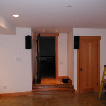 Back Wall with Atlantic Technology 454e, THX Ultra Surround Channel Speakers